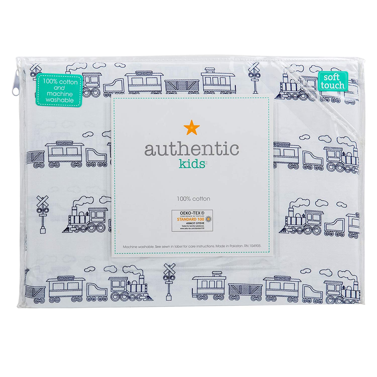 Authentic Kids 3 Piece Twin Single Bed Sheet Set Trains Cabooses Box Cars Railroads Black on White