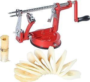 VVXX 3-in-1 Cast Apple/Potato Peeler Slicer Corer Stainless Steel Blades Red Hand-cranking Machine Durable Heavy Duty Die Cast Magnesium Alloy Peelers Slicer Fruit Vegetable Peeler for Summer Kitchen