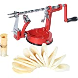 VVXX 3-in-1 Cast Apple/Potato Peeler Slicer Corer Stainless Steel Blades Red Hand-cranking Machine Durable Heavy Duty Die Cas
