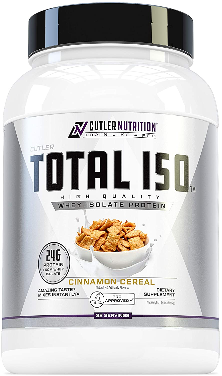 Total ISO Whey Isolate Protein Powder Best Tasting Whey Protein Shake Featuring 100 Whey Protein Isolate, Perfect Post Workout Protein Powder Mix and Meal Replacement Drink, Cinna Cereal, 2 Pounds
