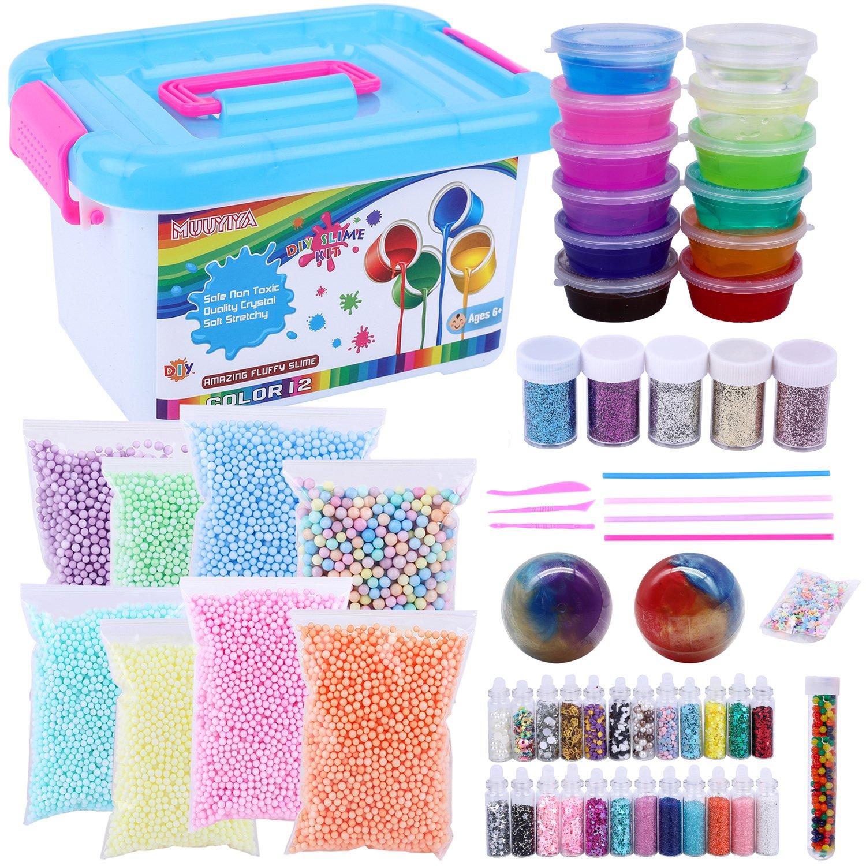 Slime Kit Supplies, Fluffy Slime Kit For Boys Girls Kids, Inlcude 12 Color Crystal Slime, Foam Balls, Glitter Jars, Egg Slime, Glitter, Straw, Egg slime, Rainbow Water Beads, Little Star, Slime Tools
