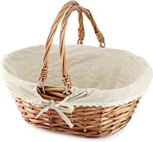 Cornucopia Wicker Basket with Handles (Natural Color), for Easter, Picnics, Gifts, Home Decor and More, 13 x 10 x 6 Inches