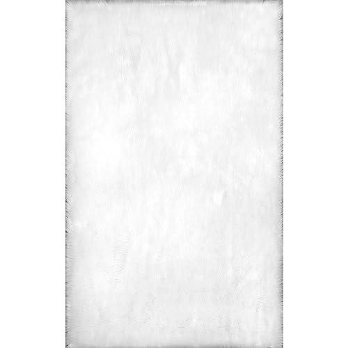nuLOOM Rodolfo Faux Sheepskin Shag Rug, 4 x 6 , White
