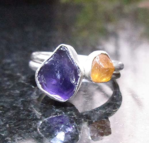 54f2351370b37 Amazon.com: Raw Amethyst and Sesspartine Garnet Stacking Rings Size ...
