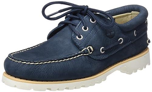 c389613ffed5e Timberland Men s Chilmark 3-eye Handsewn Moccasins Brown Blue (Midnight Navy  Barefoot Buffed 431