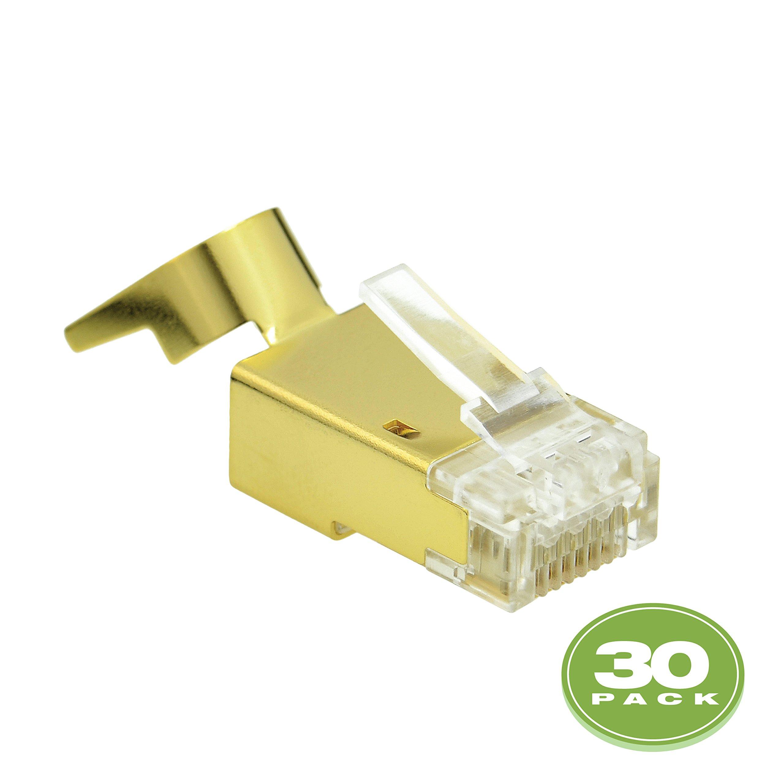 Mediabridge Cat7 Connector (Gold Shielded) - RJ45 Plug for Cat7 Ethernet Cable - 8P8C 50UM - 30 Pack (Part# 51P-C7-30PK) by Mediabridge