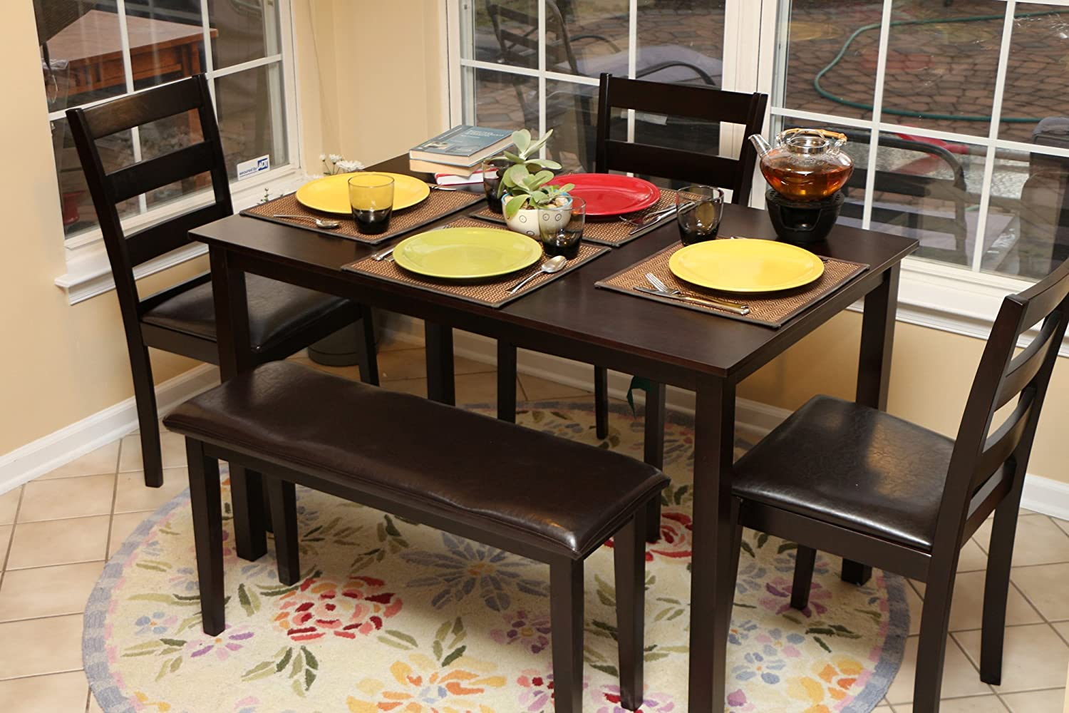 Amazon.com - LIFE Home Home Life 5pc Dining Dinette Table Chairs u0026 Bench Set Espresso Finish 150236 - Table u0026 Chair Sets : bench table dining set - pezcame.com