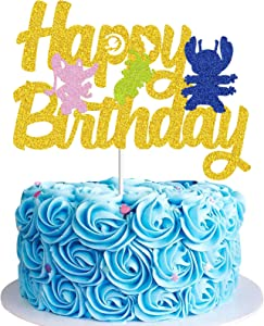 TAVOTA Lilo and Stitch Cake Topper - Happy Birthday Lilo and Stitch Decors for Kids Birthday Party Baby Shower Cartoon Sign Decorations (Golden Glitter & Double-side)