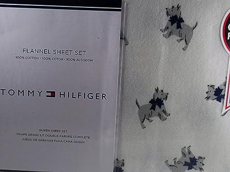 Amazon.com: Tommy Hilfiger Scottie Dog Flannel Queen Sheet Set 100% Cotton: Home & Kitchen