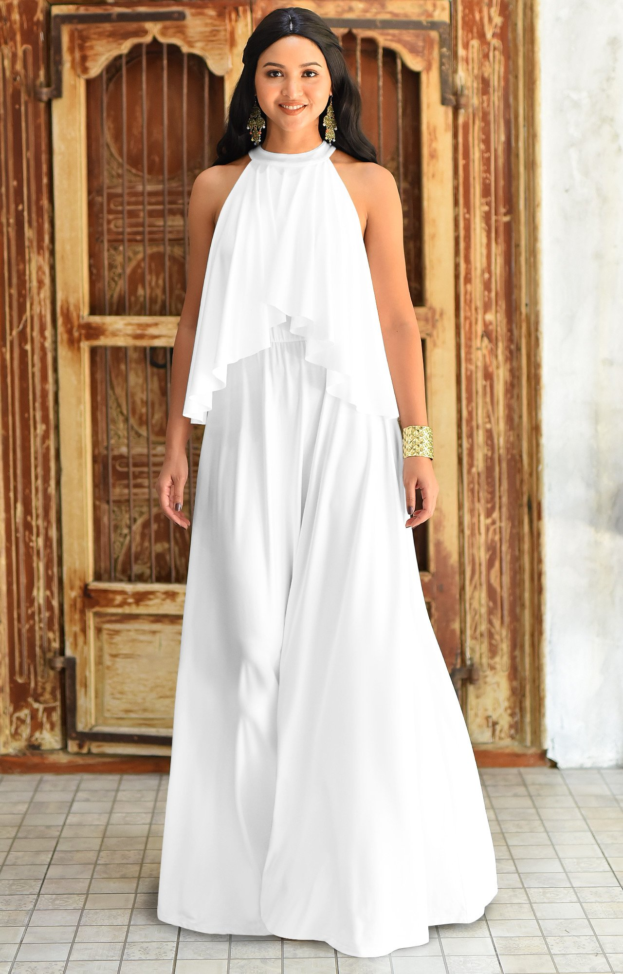 a8b6ce2ab8 ... Halter Neck Flowy Bridesmaid Bridal Cocktail Spring Summer Beach Wedding  Party Guest Floor-Length Gown Gowns Maxi Dress Dresses