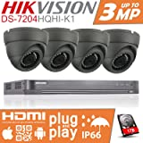 4x HIKVISION CCTV SYSTEM DVR 4X 1080P 2.4MP SECURITY CAMERA DOME 3.6mm WIDE ANGLE 20 METER IR LED +1 TB HDD