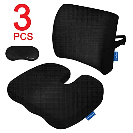 Memory Foam Cojines de asiento y soporte lumbar proporcionan alivio para el dolor de espalda inferior