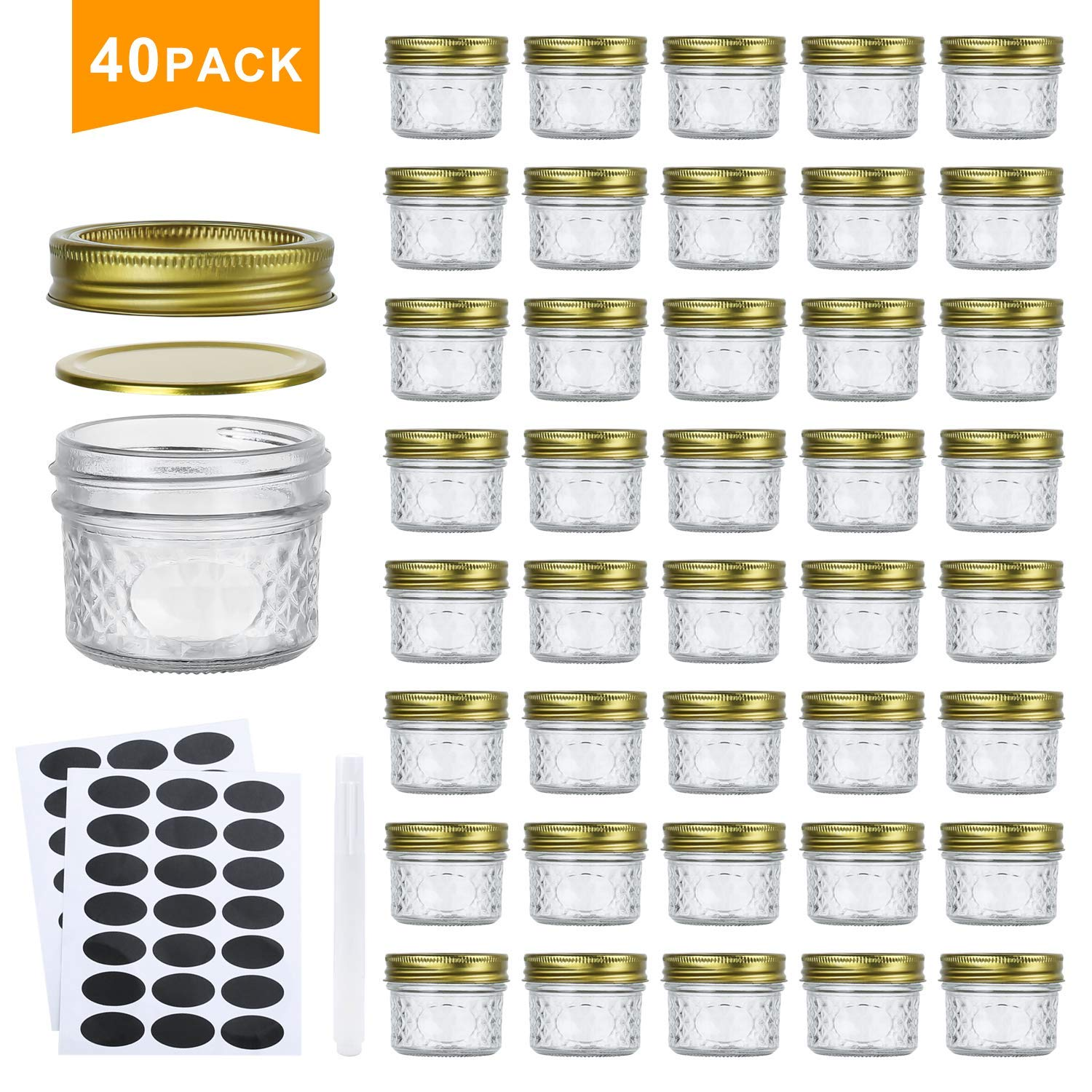 Encheng 4 oz Glass Jars With Lids And Bands,Small Canning Jars For Caviar,Herb,Jelly,Jams,Mini Wide Mouth Mason Jars For Kitchen Storage Preserving Food And Party Favors 40 Pack …