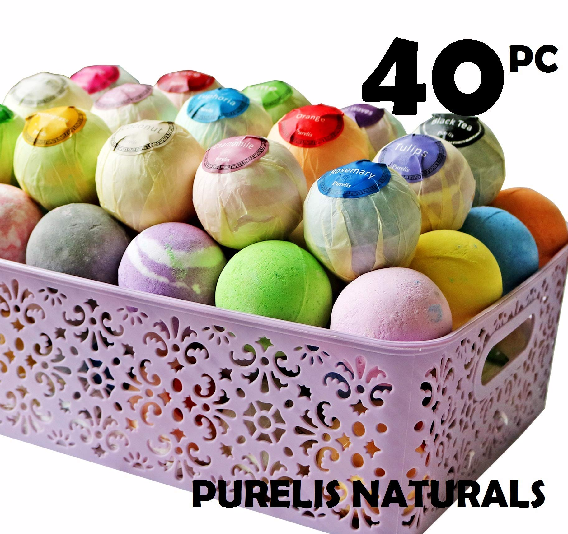 Bath Bombs Gift Baskets for Women! Basket of 40 Moisturizing Spa Fizzers Lush Bombs, 40 Unique Organic Bath Bombs Set. Luxury Spa Basket to store in. Gift Idea for Wife, Mom, Girl Friend, Party Favors
