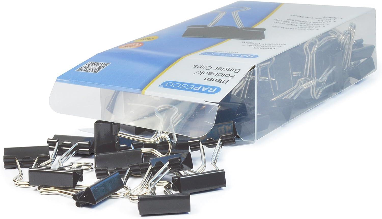 Rapesco 1429 - Caja de 80 pinzas / clips de 19mm, Sujetarán papel y tarjetas, hasta 75 hojas de papel, Negras