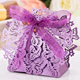 50pcs Party Wedding Favor Candy Box With Ribbon Laser Cut Butterfly Chocolate Gift Boxes Bonbonniere for Birthday Bridal Shower Valentine's Day Christmas Decoration (Purple)