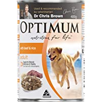 OPTIMUM Beef and Rice Wet Dog Food, 400g Can, 24 Pack, Adult, Small/Medium/Large