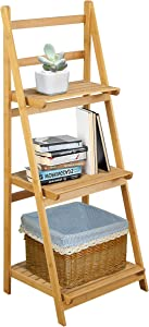 RANDEFURN Sturdy Bamboo Ladder Shelf, Bookshelf,Nature Bamboo Free Vintage Standing Storage Shelf Units,Bathroom/Livingroom,39x17x13 inches,3 Color Choice,