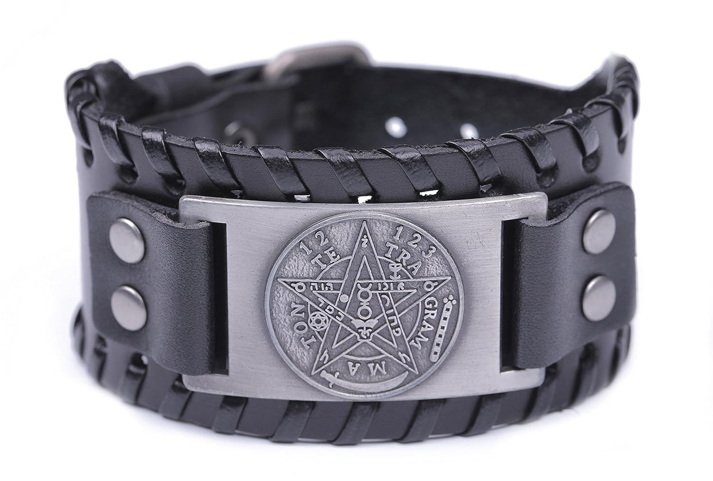 Skyrim Pagan Viking Yhwh Pentacle Symbole Talisman pour l'amour tressé Large Cuir Bracelet Skyrim Alliage N/A YI WU KE JI