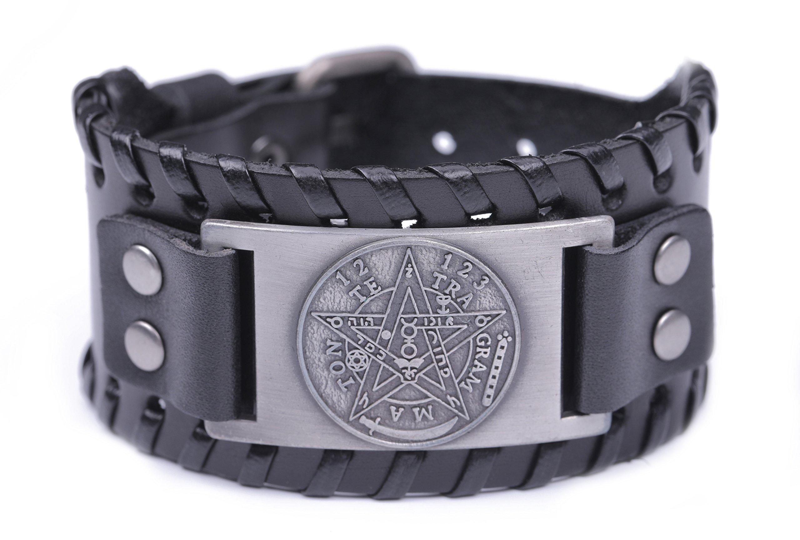 Pagan Viking Tetragrammaton Pentacle Symbol Talisman for Love Braided Wide Leather Wristband Bracelet (Antique Silver,Black) by Skyrim (Image #1)