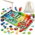 KLT Wooden Number Puzzle Montessori Toys for Toddler Ages 3 4 5 6 Years Old Boy Girl Kids, Preschool Educational Learning Toy
