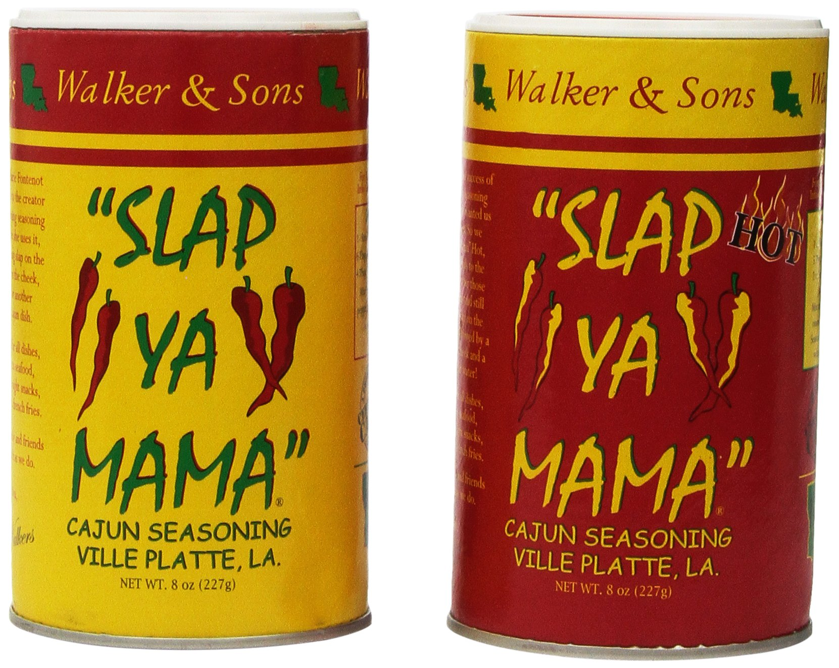 Slap Ya Mama All Natural Cajun Seasoning from Louisiana, Original & Hot Blend, 8 ounce canisters, 2 Pack