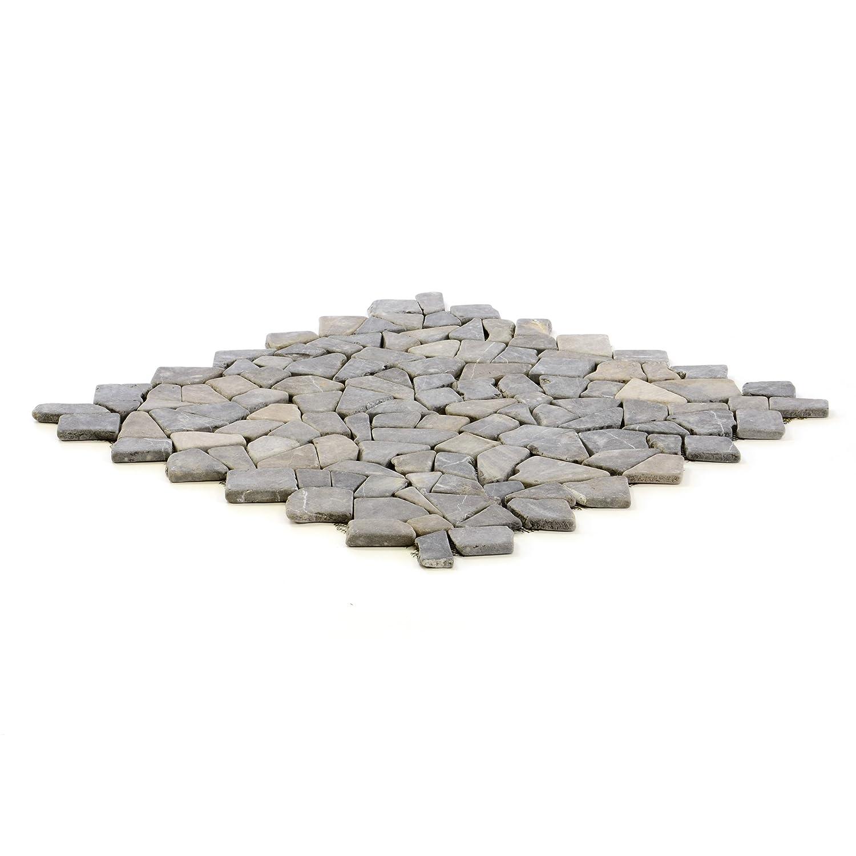 Divero 4 Fliesenmatten Naturstein Mosaik aus Marmor f/ür Wand und Boden hellgrau /á 50 x 50 cm
