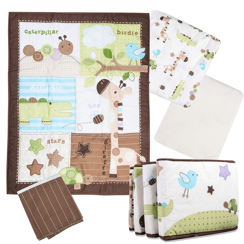 Premium Safari Nursery Crib Bedding Set 8 Piece with Bonus 100% Jersey Cotton Sheet