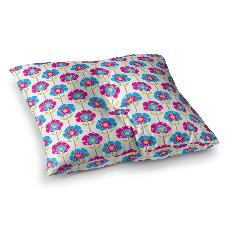 26 x 26 Square Floor Pillow Kess InHouse Apple Kaur Designs Lolly Flowers Blue Pink