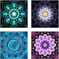4 Pack de 5D DIY Diamante conjunto de pintura Decoración del gabinete Pegatinas de mesa Cristal Rhinestone Bordado Diamante Pinturas Imágenes para sala de estudio, Mandala Flor Pintura (25X25 CM / 9.8 X 9.8 inch)