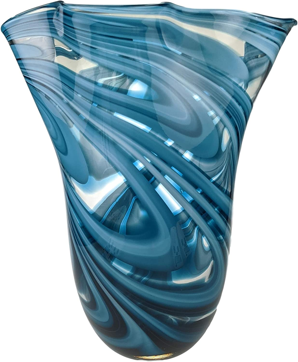 Exquisite Glass Decor Hand Blown Large Blue Clear Tall Flower Art Glass Vase for Modern Decorative Home Decor for Living Room, Kitchen,Wedding & Office Centerpiece Table to Display Flowers