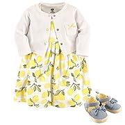 Hudson Baby Girl Cardigan, Dress and Shoes, 3-Piece Set, Lemons, 0-3 Months (3M)