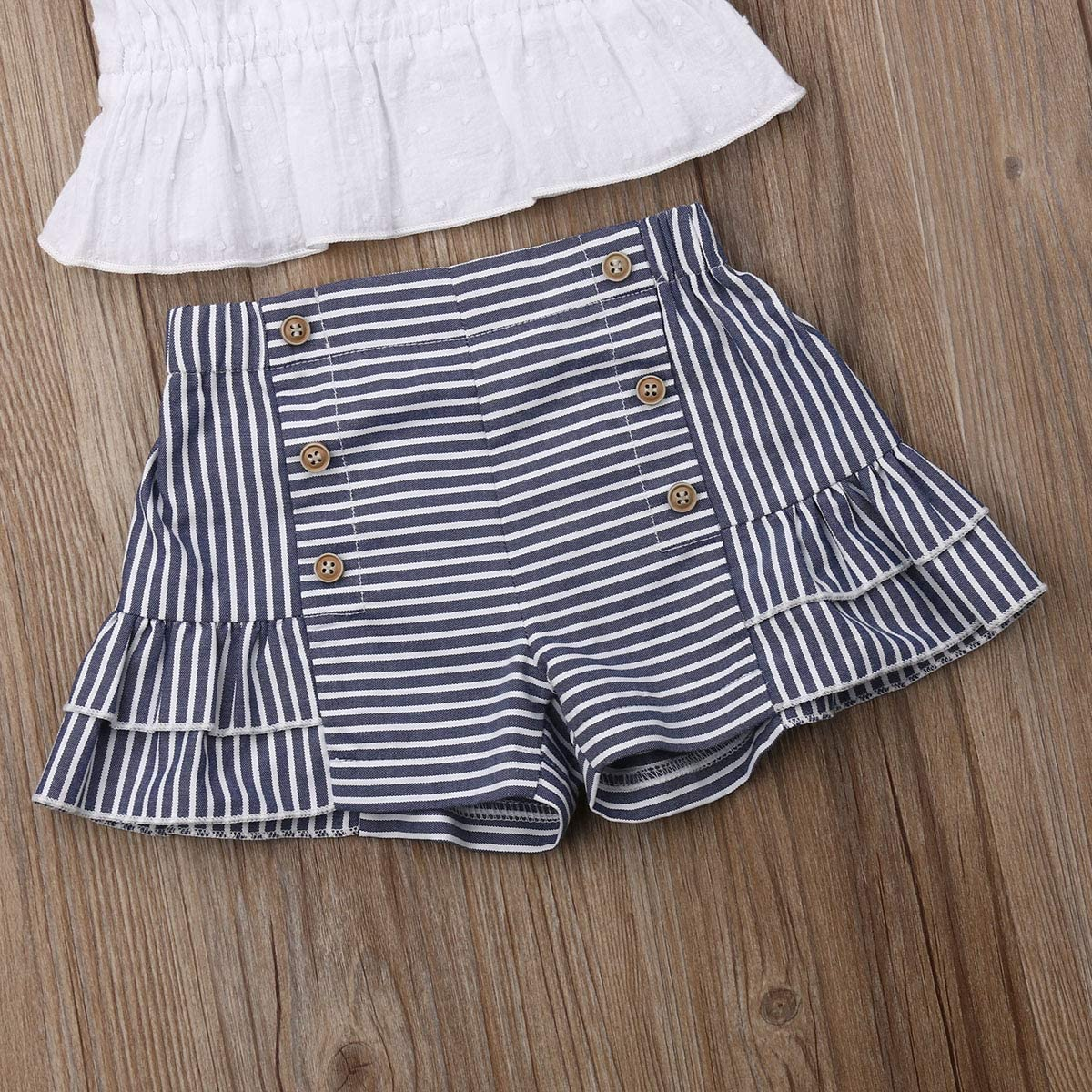 Toddler Baby Girls Sleeveless Pleated Crop Top+Striped Ruffle Shorts+Headband Outfits Summer 3 PCS Clothes Set