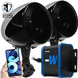 "GoHawk TN4-W Waterproof Amplifier 4"" Full Range Bluetooth Motorcycle Stereo Speakers 1 to 1.25 in. Handlebar Mount Audio Amp"