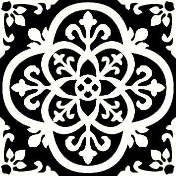 FloorPops FP2475 Gothic Peel & Stick Floor Tiles Decal, Black ...