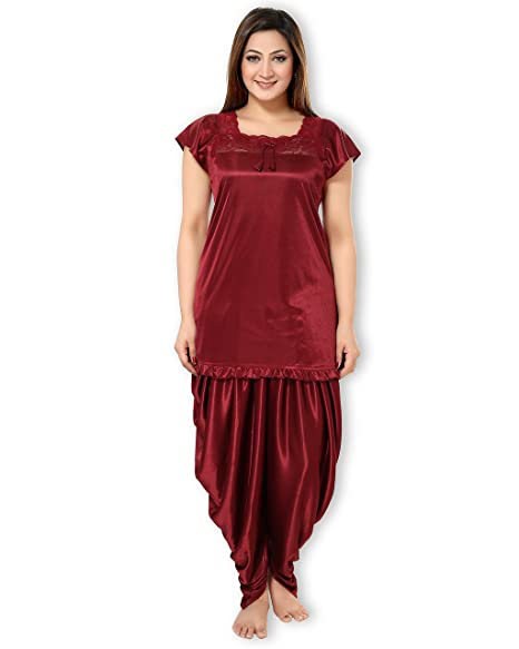 AV2 Women Satin Top & Pyjama Nightdress Set Pyjama Sets at amazon