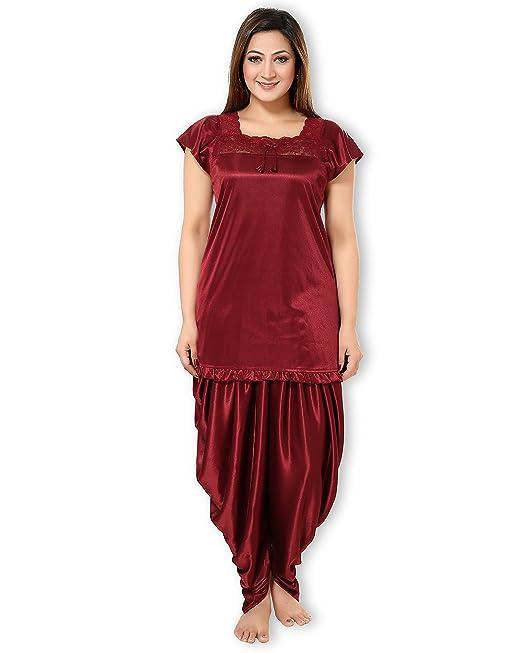 17695ee778 AV2 Women s Satin Top and Pyjama Nightdress Set (Maroon
