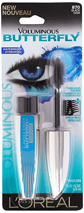 LOreal Paris Voluminous Butterfly Waterproof Mascara, 870 Black , 0.21 Fluid Ounce by LOreal Paris: Amazon.es: Salud y cuidado personal