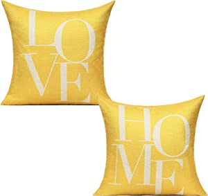 All Smiles Yellow Decorative Pillow Covers Cases 18x18 Set of 2 Farmhouse Decor Housewarming Gifts Quote Words Outdoor Cushion for Couch Sofa Bed Bedroom New Home,Love Home