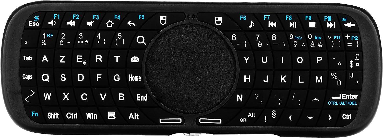 Tsing Pequeño teclado francés 2.4 GHz ergonómico e inalámbrico con Touchpad – para tablet, Smart TV, PC, HTPC, consola, ordenador (dos colores a elegir) negro: Amazon.es: Informática