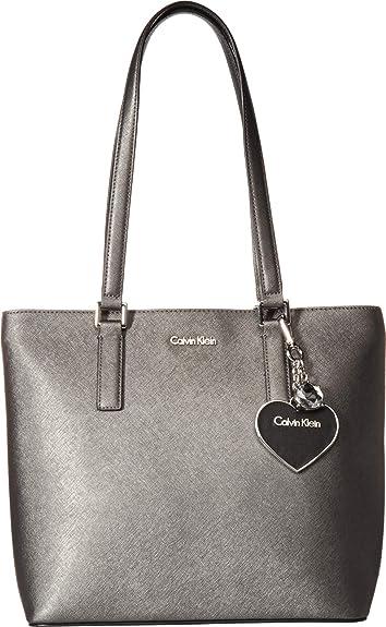 b275716ee9 Amazon.com: Calvin Klein Women's Saffiano Leather Tote Black Sparkle One  Size: Shoes
