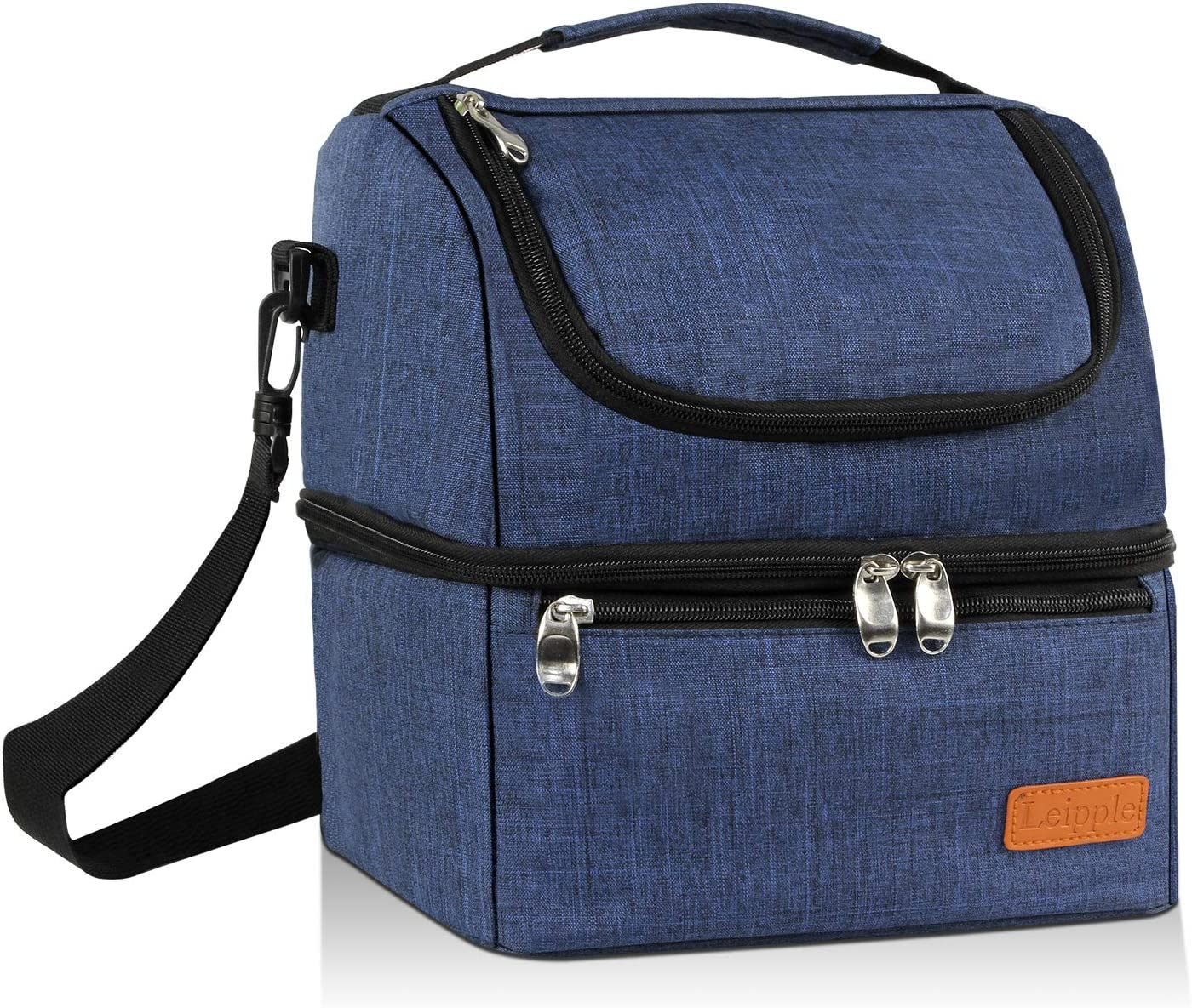 Leipple Lunch Bag for Men Women - Cooler Bag Tote Insulated Thermal Leakproof Lunch Box with Shoulder Strap Wide Opening for Office School Travel Picnic Camping(Blue)