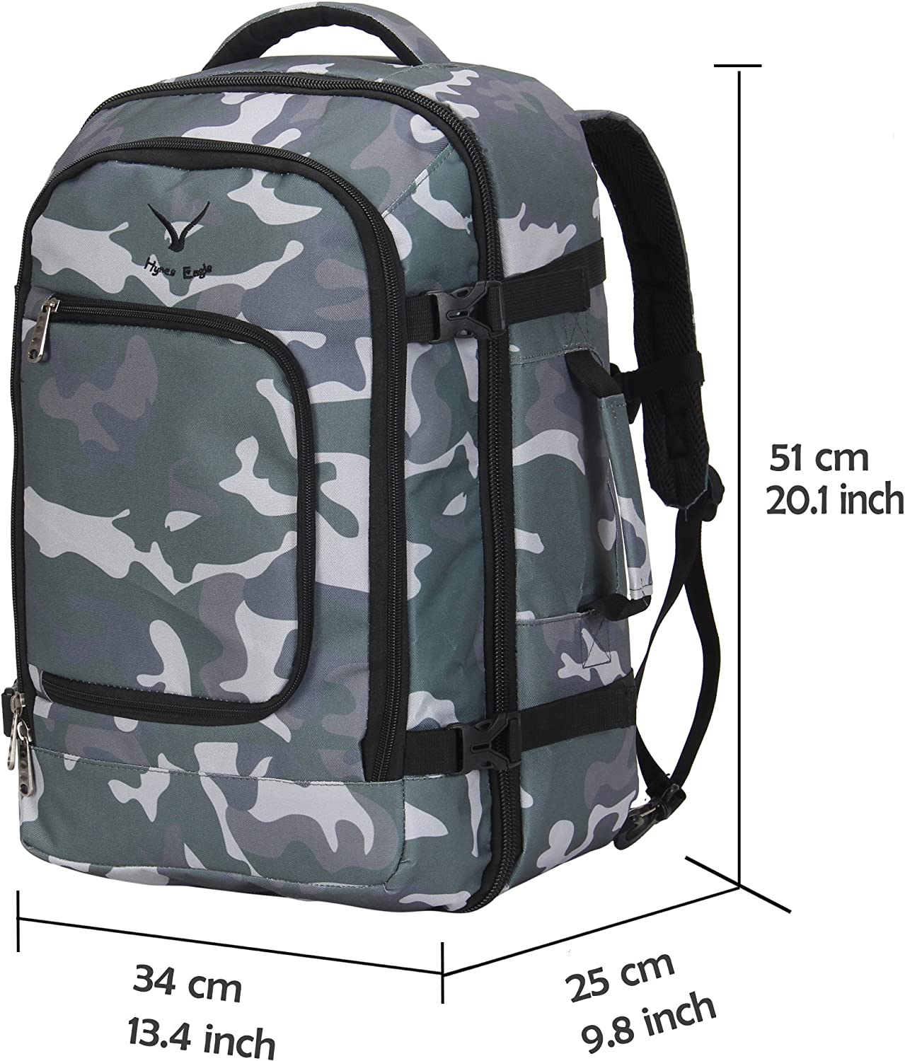 Hynes Eagle Travel Backpack 40L Flight Approved Carry on Backpack Camo 2017