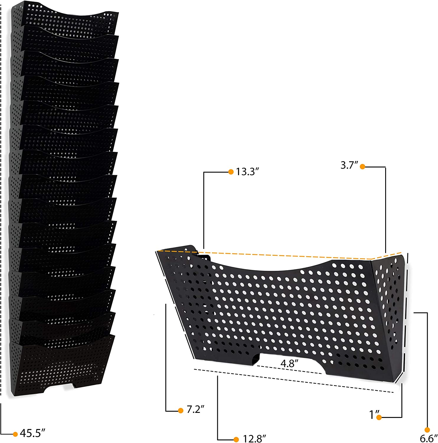 Black Wallniture Lisbon Wall Mounted File Holder and Desk Organizer 5-Tier Metal Office Organization and Storage Rack