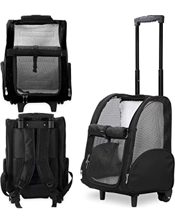 b3105258c5 Kundu Deluxe Backpack Pet Travel Carrier with Double Wheels - Black -  Approved by Most Airlines