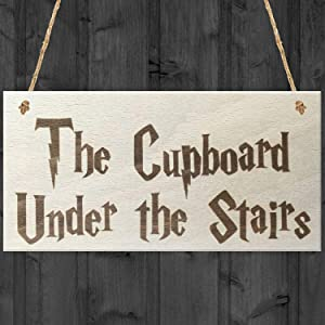 The Cupboard Under The Stairs Custom Wood Signs Design Hanging Gift Decor for Home Coffee House Bar 5 x 10 Inch