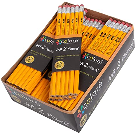 Colore #2 Pencils With Eraser Tops - HB Graphite/No 2 Yellow Wood Pencil  Great School Art Supplies For Writing, Drawing & Sketching - Suitable For