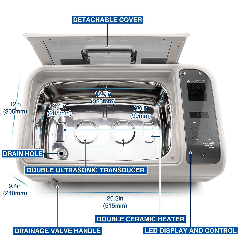 Pi/èces M/écaniques Life Basis Nettoyeur Ultrasonique Num/érique Professionnel 6L Nettoyeur /à Ultrasons CD-4862 pour Nettoyage des Brucelles Outils de Laboratoire Outils Dentaires