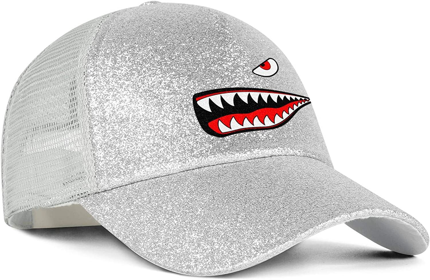 3D Shark TeethWomensMeshTruckerPonytail Messy Cap Adjustable SnapbackSports Hat
