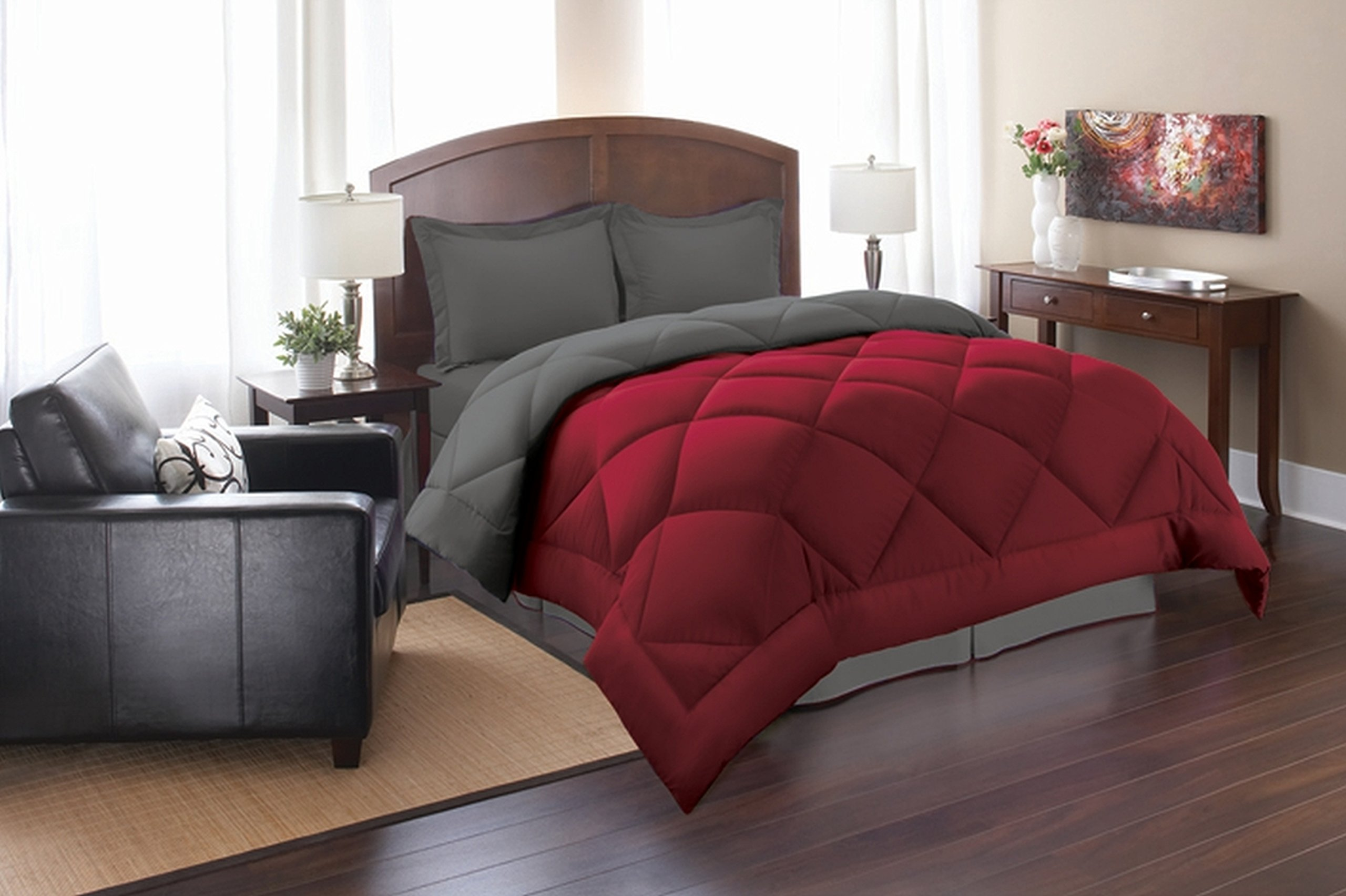 Super Soft Goose Down 3pc REVERSIBLE Alternative Comforter - All Sizes and Many Colors Available , QUEEN , Red/Gray